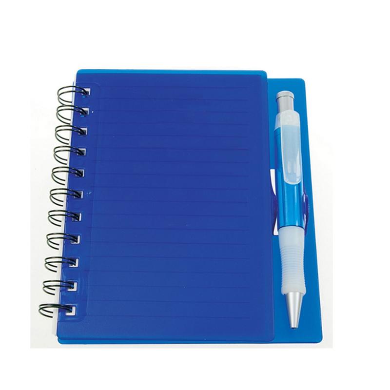 caderno capa plástica e caneta