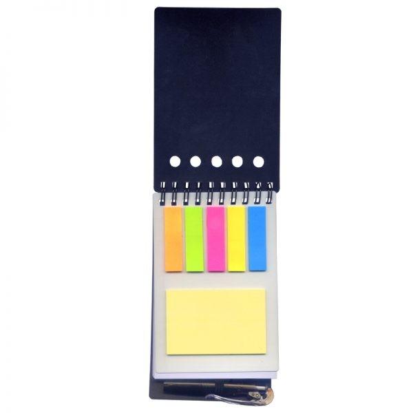 Bloco com post-it e caneta